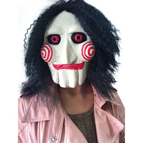 JetkyShop Saw Movie Jigsaw Puppet Mask Halloween Full Mask Head Latex Creepy Scary