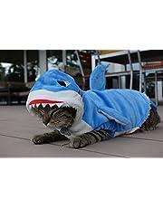 Den allra första hajdräkten för katter – djurvänlig, levande blå, supermjuk, 100 % bomull, kardborreband