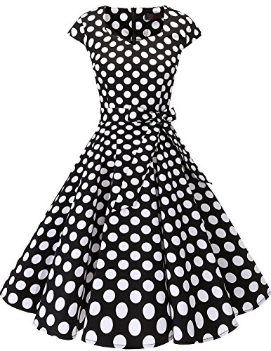 DRESSTELLS Retro 1950s Cocktail Dresses Vintage Swing Dress with Cap-Sleeves Black White Dot M -