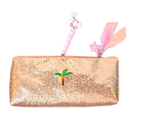Multi-Functional Felt Pouch Zipper Pencil Bag Students Super Large Matte Embroidery Sequins Pencil Case (Gold)