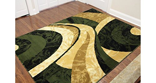"Eldorado Modern Design Printed Swirls Area Rug, Luxurious, Elegant, and Fashionable Area Rug (5'3\""X7'2\"", Green)"