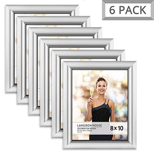 Langdons 8x10 Picture Frame (6 Pack, Silver), Silver Photo Frame 8 x 10, Wall Mount or Table Top, Set of 6 Celebration Collection