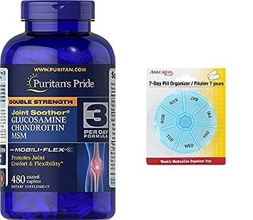 Pride doble fuerza glucosamina, condroitina y MSM conjunto chupete-480 cápsulas de Puritan con