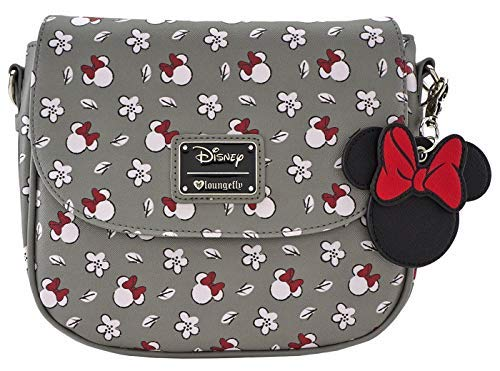 Loungefly Minnie Mouse Gray Print Crossbody Purse (One Size, Gray)