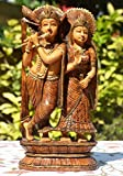 (US) AapnoCraft Hindu Lord Radha Krishna Statue God of Love Idols Wooden Art Decor For Home & Office Birthday gifts