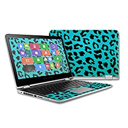 MightySkins Protective Vinyl Skin Decal for HP Pavilion x360 - 13t Touch Laptop case wrap cover sticker skins Teal Leopard