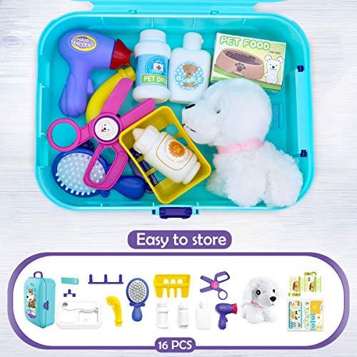 Sanlebi Gioco di Ruolo Valigetta Giocattolo Zaino Kit con Accessori Bambini Giocattoli Bambino 3 Anni (Veterinario Kit)