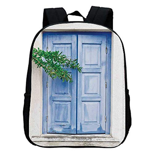 Shutters Decor Fashion Kindergarten Shoulder Bag,Mediterranean Window Shutters Covered by Tree Print Heritage Greek Island Photo For Hiking,One_Size (Best Greek Island For Hiking)