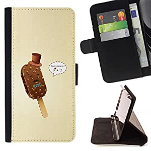 For Sony Xperia Z1 Compact / Z1 Mini (Not Z1) D5503 Case , Helado Gentleman divertido- la tarjeta de Crédito Slots PU Funda de cuero Monedero caso cubierta de piel