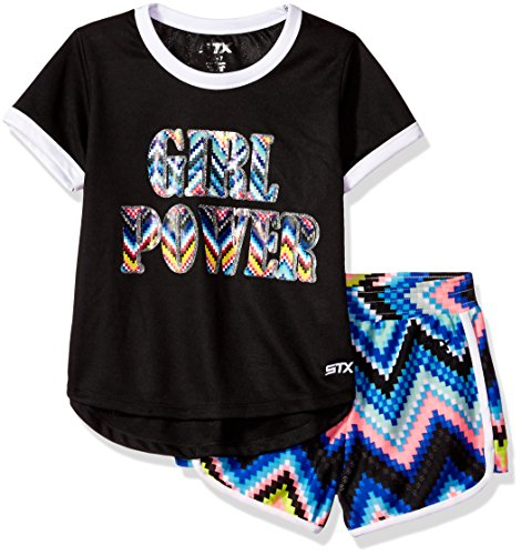 STX Big Girls' T-Shirt and Short Set (More Styles Available), Black, - Short Black Style