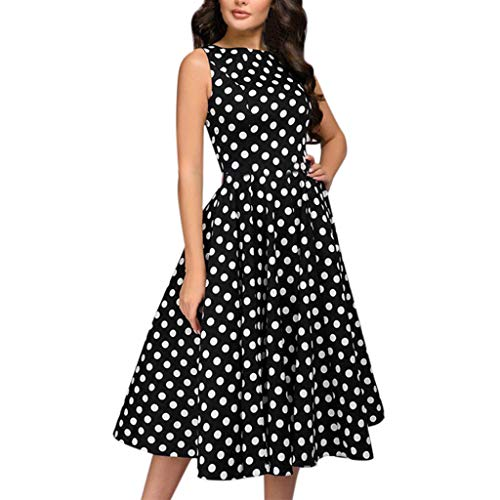Women Elegant Dot Print Sleeveless Vintage Zip Flare Retro Knee Length Dress