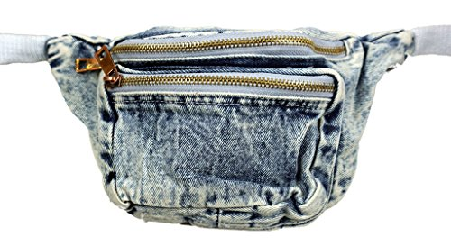 [Funny Guy Mugs Jean Fanny Pack - Retro Denim Acid Wash Jean Fanny Pack] (Easy Halloween Costume Ideas For Guys)