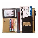 HGDGears RFID Leather Travel Passport Holder,Multi-purpose Document Organizer Passport Wallet with Zipper Pocket (black)