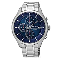 New Seiko SKS549 Chronograph Stainless Steel Blue Dial 100M Men's Watch
