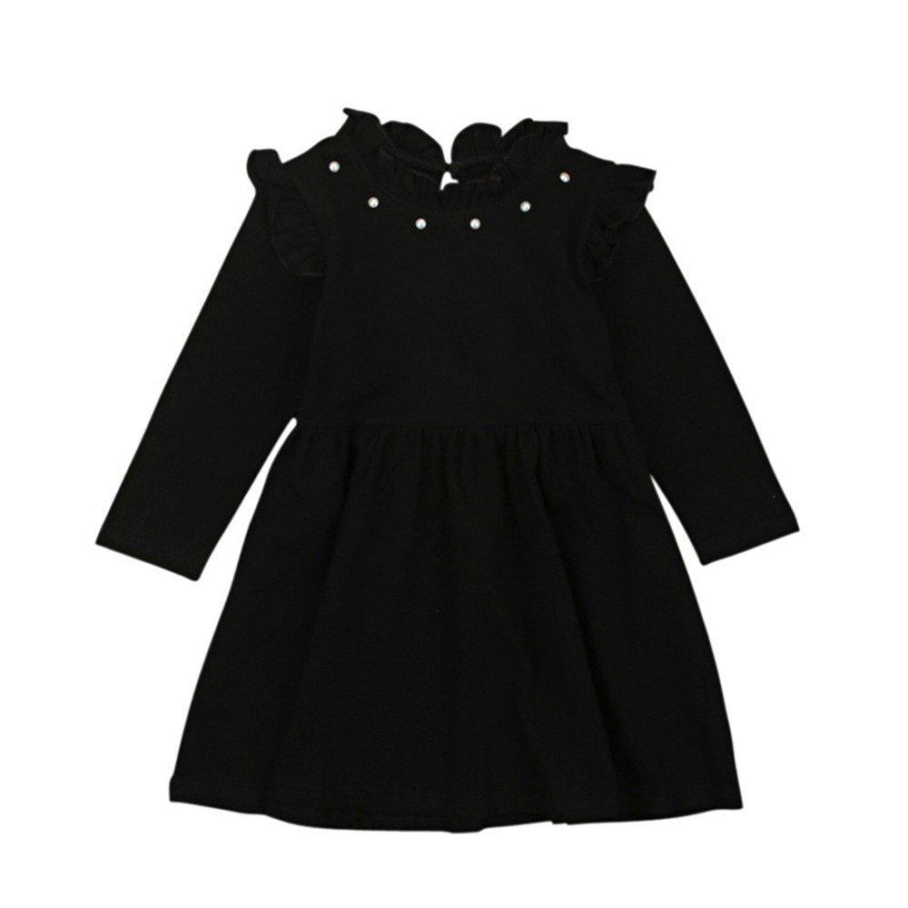 TOPUNDER Solid Color Long Sleeves Dress Girls Princess Clothing Children Kids