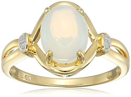 (Yellow Gold Plated Sterling Silver Crisscross Opal Diamond Accent Ring, Size 6)