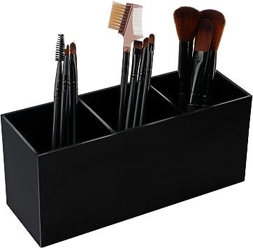 Yestbuy Organizador de 3 ranuras para brochas de maquillaje acr/ílico para tocador almacenamiento de brochas cosm/éticas organizador de tocador para ba/ño soporte para cepillo de dientes encimera