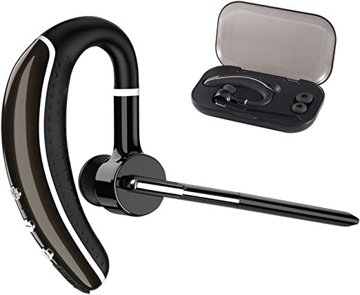 Wireless Bluetooth Earpiece V5.0 IPX7 Hands-Free Earphones with Built-in Mic for Driving//Business//Office Compatible with iPhone and Android-Gray ICOMTOFIT Bluetooth Headset