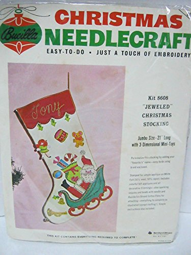 Bucilla christmas needlecraft jumbo sized jeweled christmas stocking