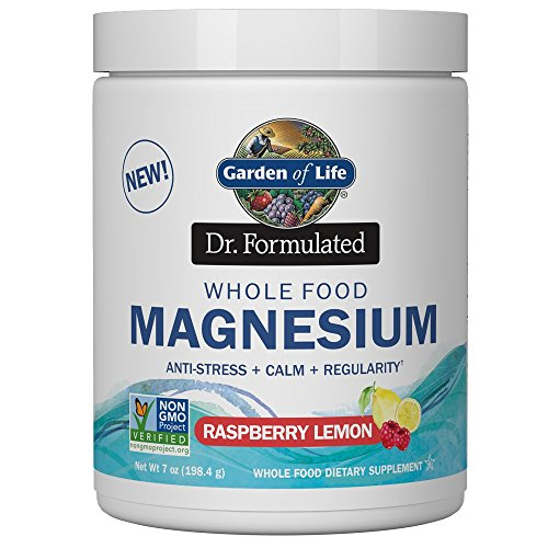 Garden of Life Dr. Formulated Whole Food Magnesium 198.4g Powder, Raspberry Lemon, Chelated Non-GMO Vegan Kosher Gluten & Sugar Free Supplement with Probiotics, Best for Anti-Stress Calm & Regularity