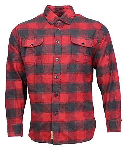 Brawny Flannel Shirt - Jachs Men's Brawny Flannel Shirt (Red/Gray, Large)