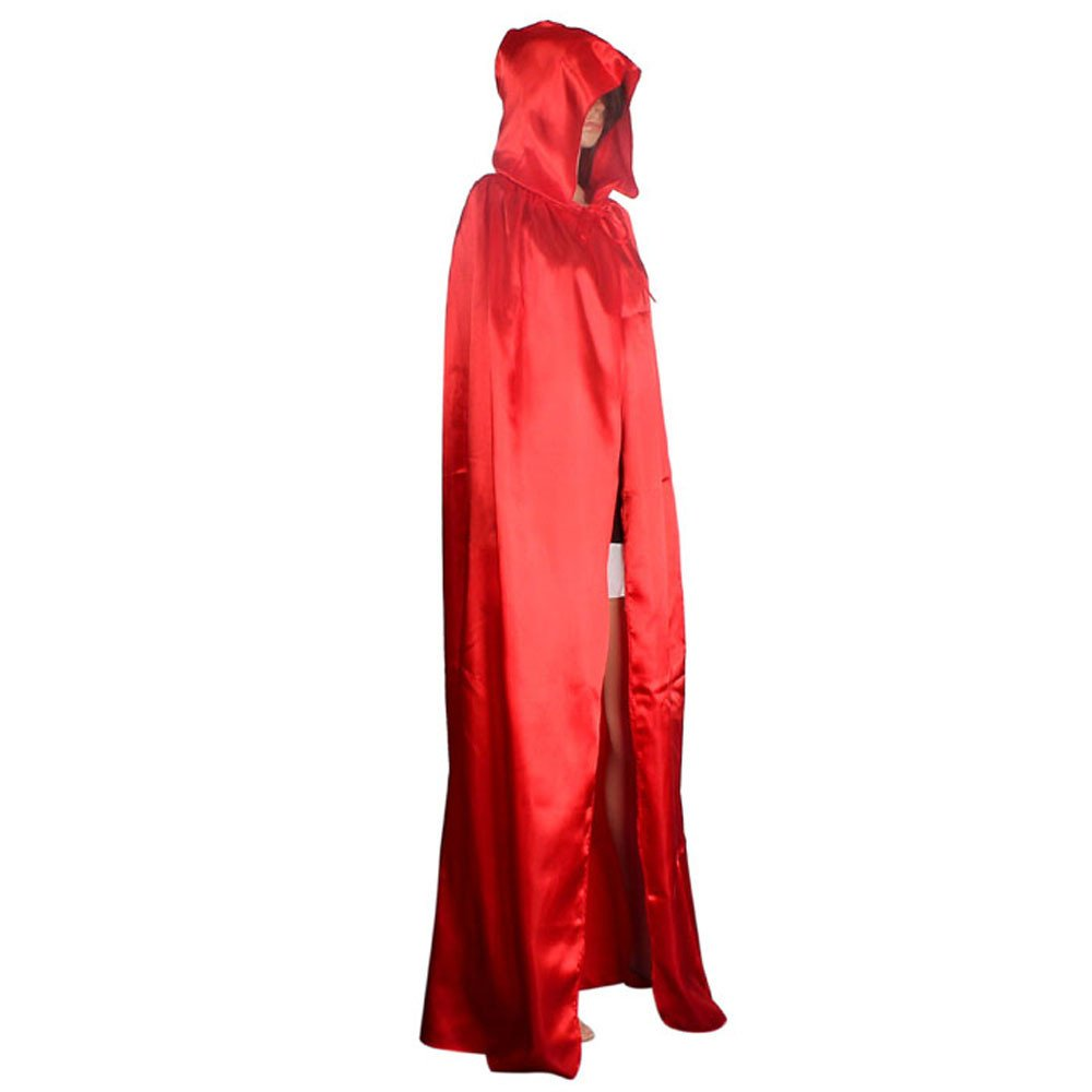 Halloween Cosplay Costumes Party Capes Unisex Christmas Day Hooded Cloak Medieval Cape (Red, L)