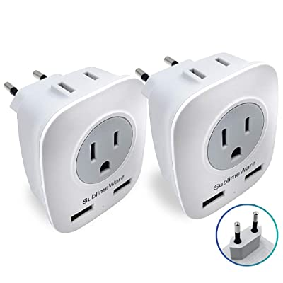 European Power Adapter (2 Pack) - w/ 2 USB Ports & 2 AC Outlets - USA to EU Outlet Plug - US to Europe Plug Adapter - Electrical Charger Travel Adapters for Europe - for EU Charging by SublimeWare: Electronics