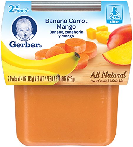 Gerber 2nd Foods Banana Carrot Mango, 4 oz Tubs, 2 Count (Pack of 8)