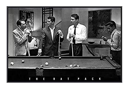 34 X 22 Frank Sinatra And The Rat Pack Playing Pool Quality Black Metal Framed Poster