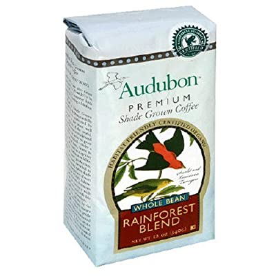 Audubon Premium Shade Grown Coffee Organic Rainforest Blend Whole Bean 12.0 OZ (pack of 6)