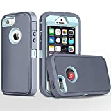 FOGEEK iPhone 5S Case,iPhone SE Case, Heavy Duty PC and TPU Combo Protective Body Armor Case Compatible for iPhone 5S,iPhone SE and iPhone 5 with Fingerprint Function (Grey/Light Blue)