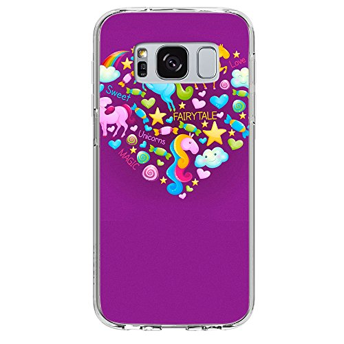 Image Of Fairytale Elements within a Heart on Purple Samsung Galaxy S8 Plus Phone Case