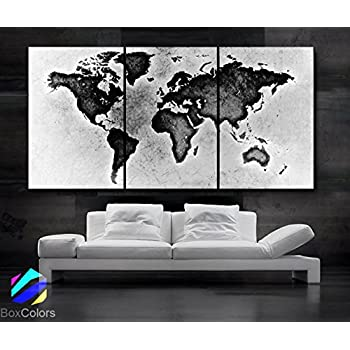 Amazon xlarge 30x 70 5 panels 30x14 ea art canvas print large 30x 60 3 panels 30x20 ea art canvas print world map black white wall home office decor interior included framed 15 depth gumiabroncs Choice Image