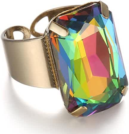 eManco Geometric Statement Vintage Opening Copper Crystal Ring
