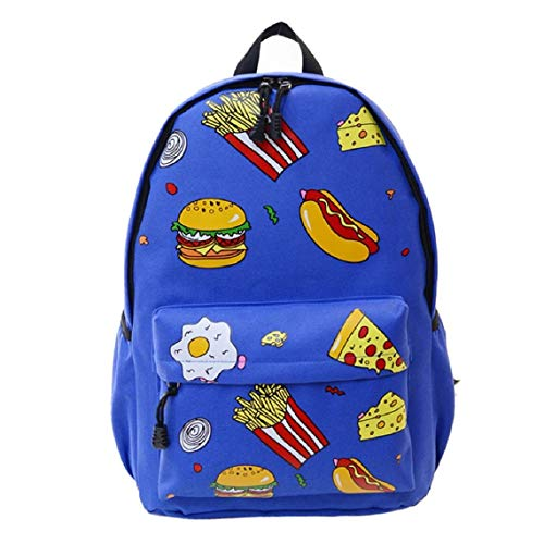 Fashion Backpack Casual Lightweight Cute Food Hamburgers Backpacks Cute Dot Bookbag Shoulder Bag School Backpack for Teen Red (Blue)]()