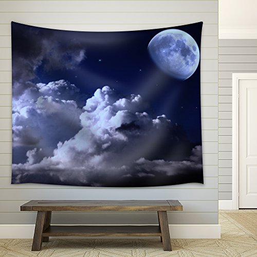 Night Sky with the Moon Clouds and Stars Fabric Wall Tapestry