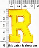 Yellow letter R patch logo Sew On Patch Clothes Bag