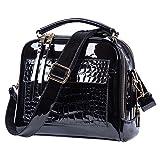 Lucien Hanna Women Handbags Purses Shoulder Bags Tote Bag (Black)