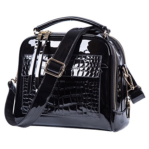 Black purses and handbags For Women Crossbody Leather Shoulder Bags Tote Bag (Black)
