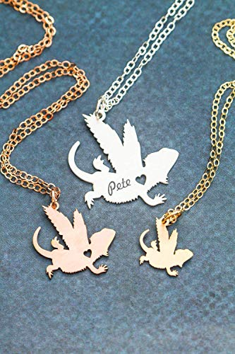 - Bearded Dragon Memorial Necklace - Lizard - IBD - Personalize with Name or Date - Choose Chain Length - Pendant Size Options - 935 Sterling Silver 14K Rose Gold Filled - Ships in 1 Business Day