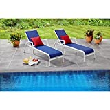 Exceptionally Comfortable Sand Dune Chaise Lounges 'Perfect Near Your Poolside or Garden Area', Set of 2 (Blue)