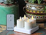 Pack of 4 Remote Ready Moving Wick White LED Rechargeable Tealight Candles with Timer