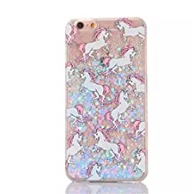 Liquid Case for iphone 7,Cute Cartoon Unicorn Horse Print Floating Bling Sparkle Love Hearts Glitter Stars Hard Plastic Case for Apple iphone 7 (Purple Horse)