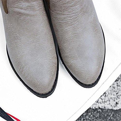 EUR43UK9 Mujers pie Trabajo NVXIE EUR Otoño UK GRAY Heel Rough Invierno Boca Botas Felpa 5 de Artificial Negro del PU 37 Puntiagudo Dedo Gris 4 de 5 Fiesta dwqYpwT
