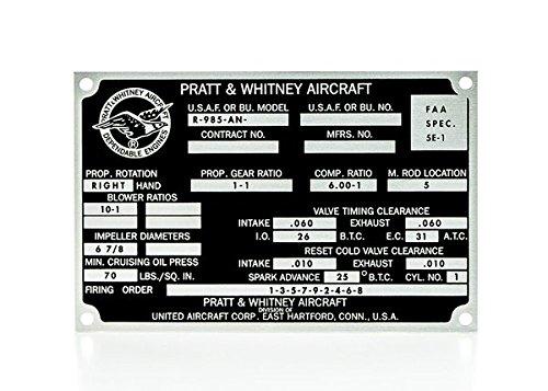 Reproduction Pratt & Whitney R-985-AN Data Plate