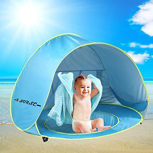 - R HORSE Baby Pool Tent Baby Beach Tent with Pool and Fluorescent Wristband 50+UPF UV Protection Sun Shelter for Infant Aged 0-3