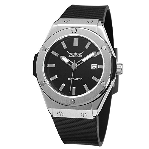 Sweetbless Wristwatch Men's Analog Day Self-Winding Automatic Rubber Band Watch (Black)