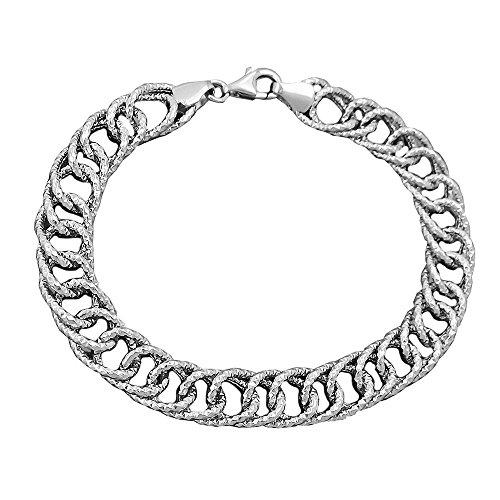 Bracelet fantaisie rhodié,, argent 925
