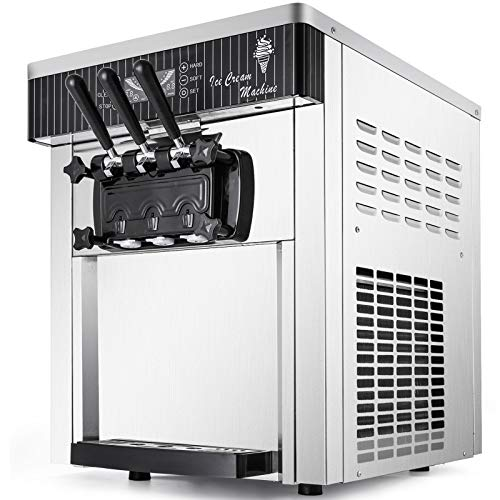 VEVOR Commercial Ice Cream Machine 5.3 to 7.4Gal per Hour Soft Serve with LED Display Auto Clean 3 Flavors Perfect for Restaurants Snack Bar, 2200W, Sliver