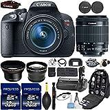 Canon EOS Rebel T5i DSLR cámara Con 18-55 mm es STM lente + el Kit incluye, 58 mm HD gran angular lente + 2,2 x teleobjetivo + 2 piezas 32 GB tarjeta de comandante + empuñadura de batería + Extra de batería + mochila estuche